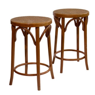 Bentwood Counter Stools In The Style of Michael Thonet- A Pair