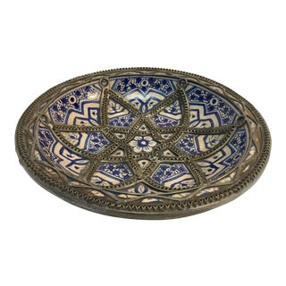 Decorative Moroccan Blue and White Handcrafted Ceramic Bowl From Fez For Sale