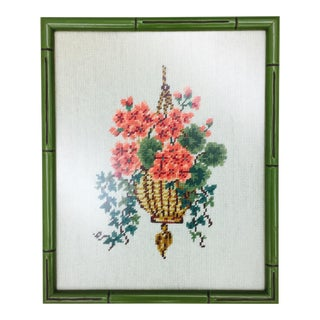 Vintage Hand Sewn Needlepoint Art For Sale