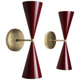 Image of Tuxedo Wall Sconce in Brass + Blood Red Enamel by Blueprint Lighting For Sale
