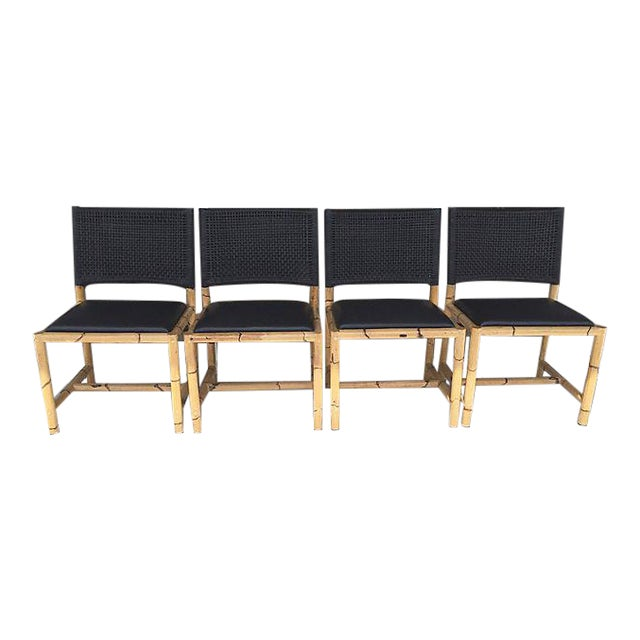 Bamboo & Leather Chairs - Set of 4 - Image 1 of 7