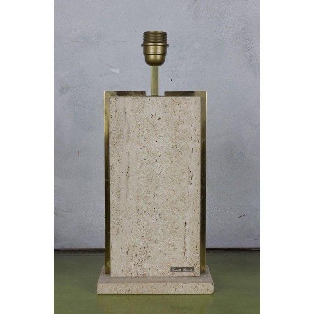 Belgian 1970s small rectangular lamp in travertine and framed in brass. Signed Camille Breesch. Not UL wired. Has original...