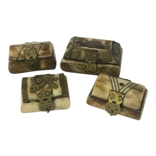 Antique Bone and Brass Trinket Boxes - Set of 4 For Sale