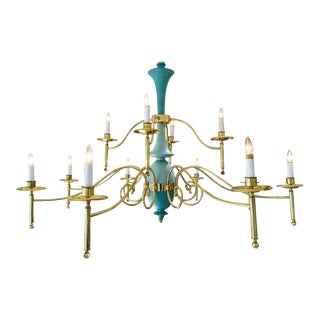 Italian Chandelier Nearly 6 Feet 1930s-1940s in Brass and Robins Egg Blue For Sale