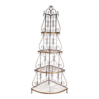 20th Century French Iron Baker Rack With Brass Details For Sale