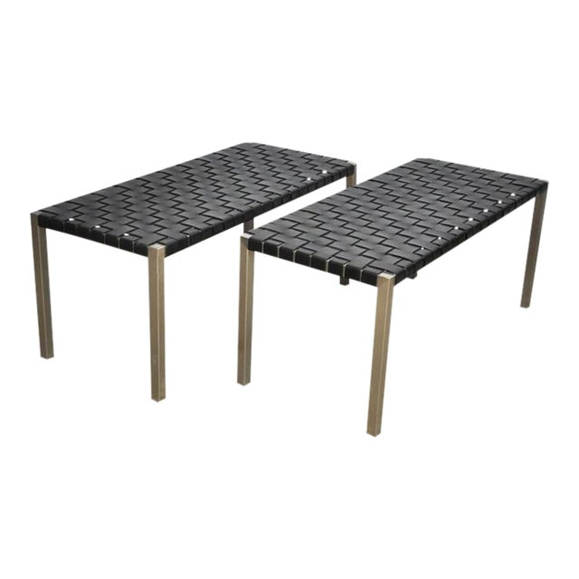 Pair of Steel and Leather Strap Benches For Sale