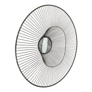Large Sculptural Wire Sunburst Wall Mirror For Sale