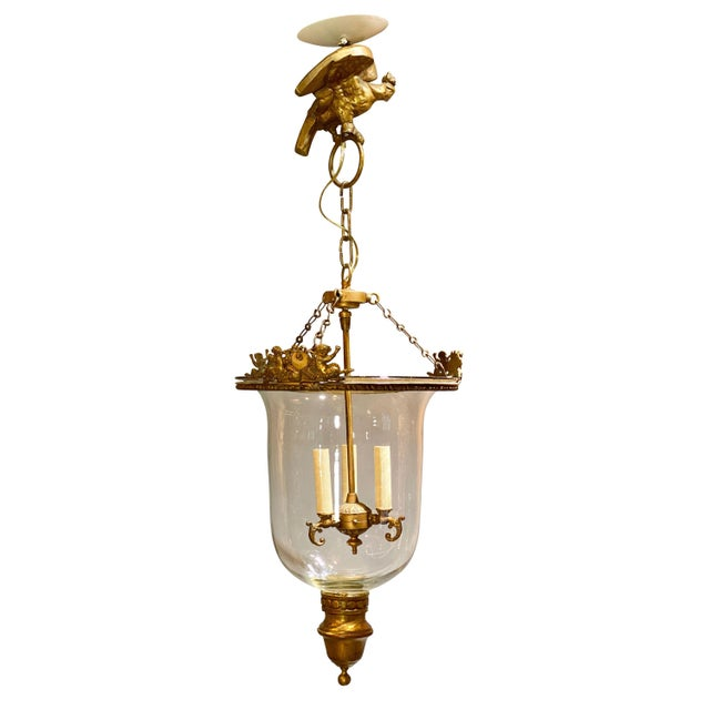 Bronze Louis Philippe Brass Bell Form Hall Lantern For Sale - Image 8 of 8