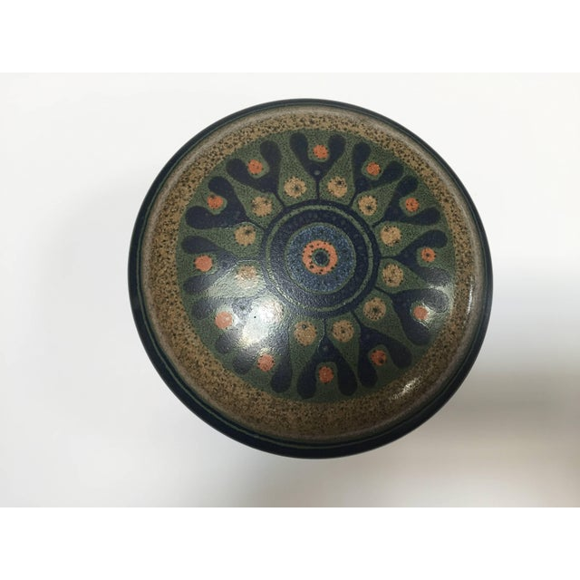 Hand-painted lidded round ceramic bowl by KMK Manuell, from the Viola line manufactured by KMK Kupfermulhe Hohenlockstedt,...