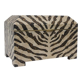 Zebra Motif Storage Box by Maitland Smith For Sale