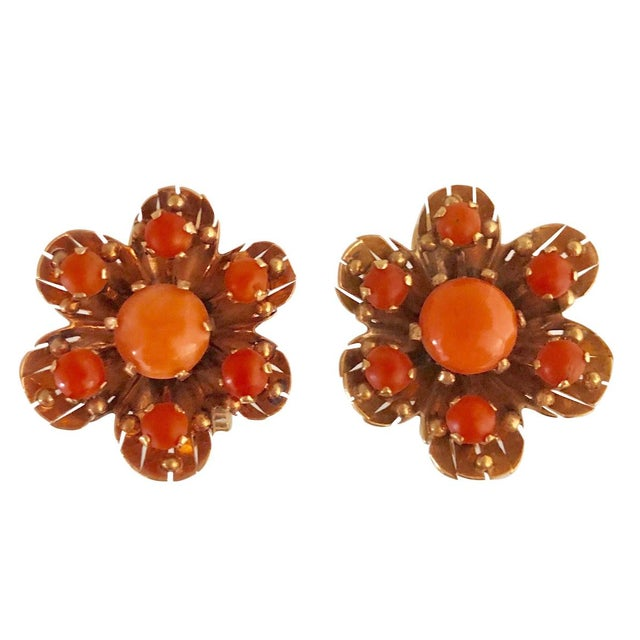 Mid-Century Modern Vintage14k Rose Gold and Coral Clip Earrings - a Pair For Sale - Image 3 of 3
