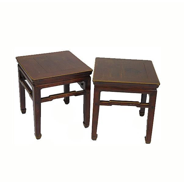 1900s Vintage Square Stools- a Pair For Sale In Boston - Image 6 of 6