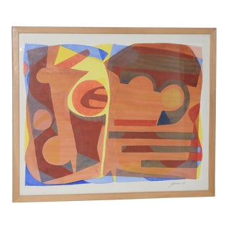 "Katherine Barieau (1917-2010) ""Child's Room"" Abstract Watercolor C.1967 For Sale"