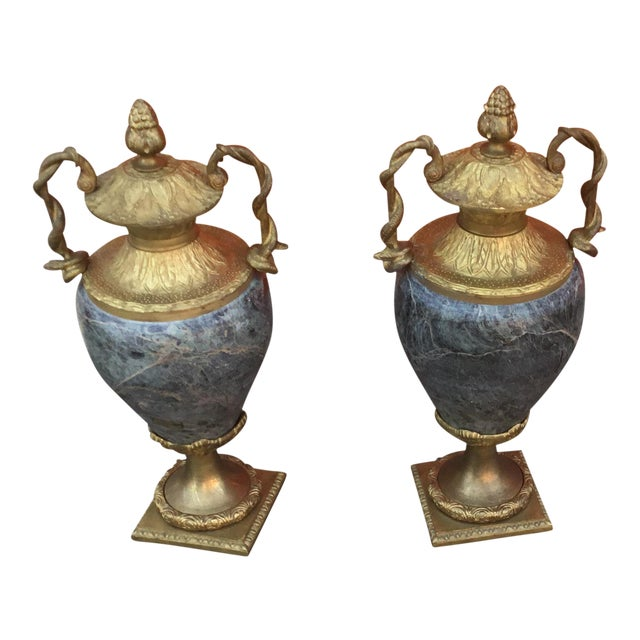 Vintage Close Marble and Bronze Vases - a Pair For Sale