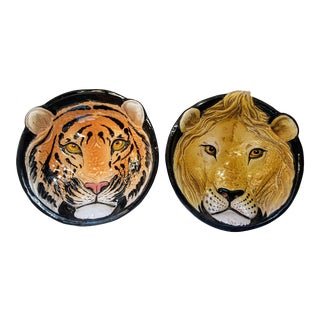 1970s Italian Mid-Century Modern Pottery Tiger & Lion Wall Art Bowls - a Pair For Sale