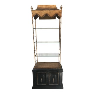 Italian Tole Lighted Etagere
