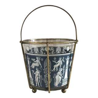 1960s Blue Greek Classical Scene Glass Ice Bucket With Carrier For Sale