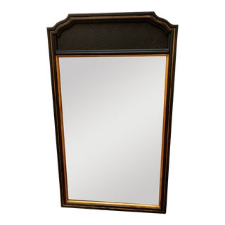 Black and Gilt Painted Bamboo Mid-Century Modern Mirror For Sale