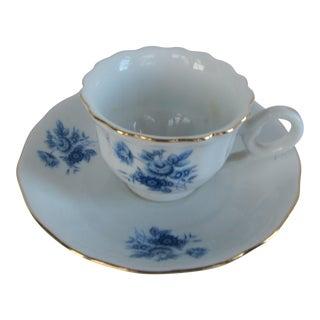 Vintage Blue & White Teacup Candle Holder For Sale