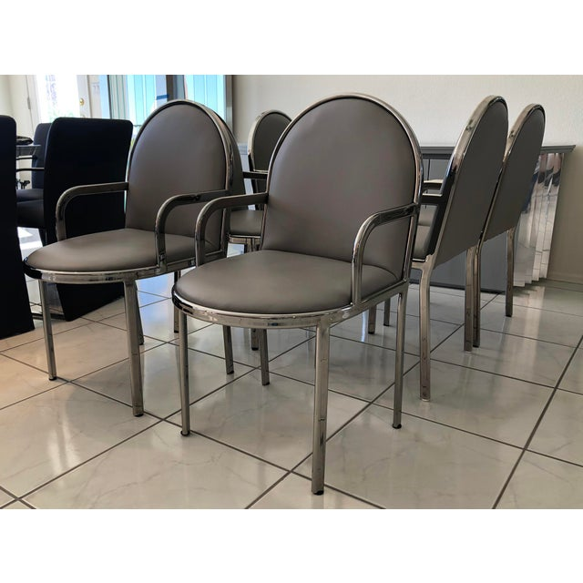 Metal Set of 6 Rougier Chrome Dining Chairs For Sale - Image 7 of 8