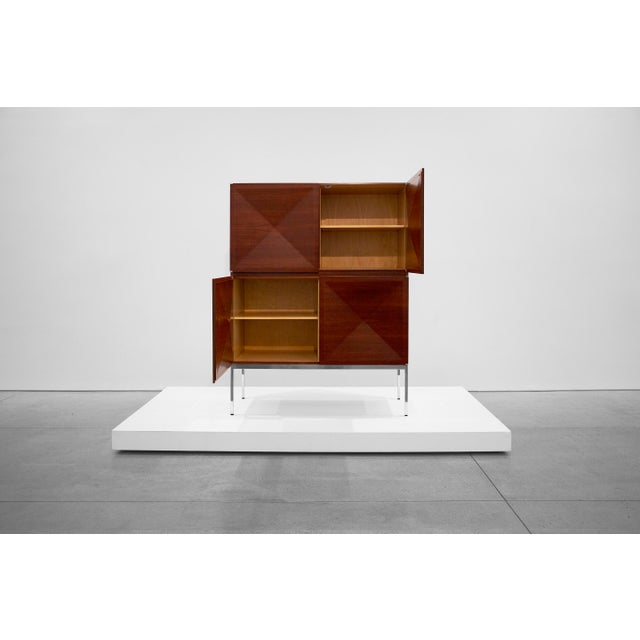 Antoine Philippon and Jacqueline Lecoq, Cabinet, 1307 Series, Edition Erwin Behr, C. 1962, Mahogany, Pressed Plywood, Chrome-Plated Steel For Sale In Los Angeles - Image 6 of 9