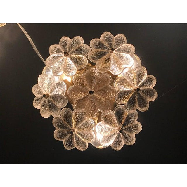 Hollywood Regency 1960s Small Ernst Palme Floral Glass Flush Mount Sconce For Sale - Image 3 of 6