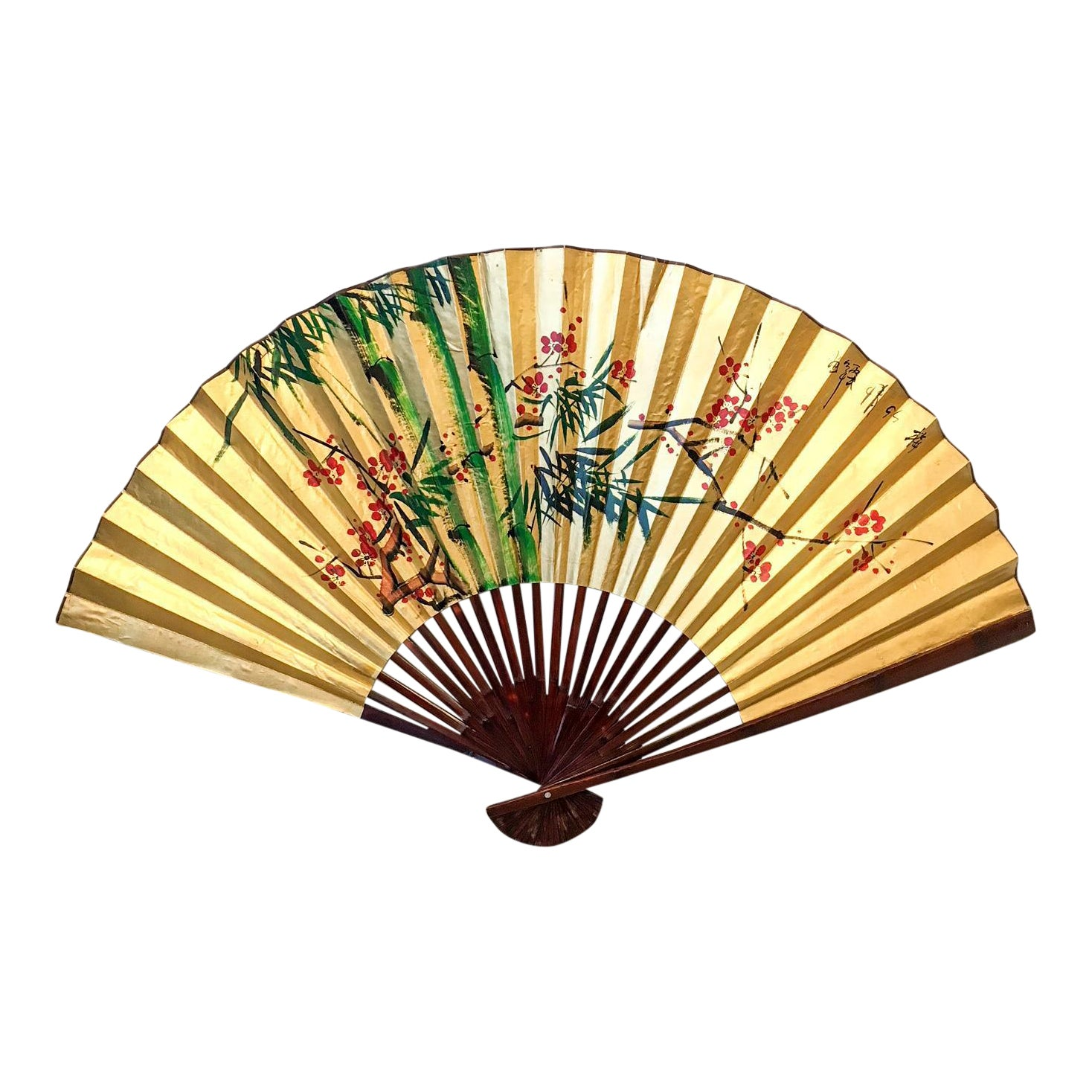 Oversized Chinoiserie Paper Fan Wall Decor | Chairish
