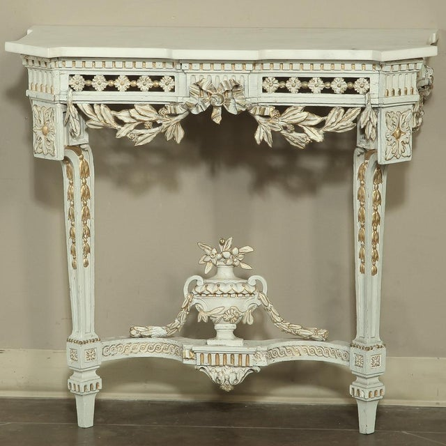 19th Century Swedish Neoclassical Marble-Top Painted Console For Sale - Image 12 of 12