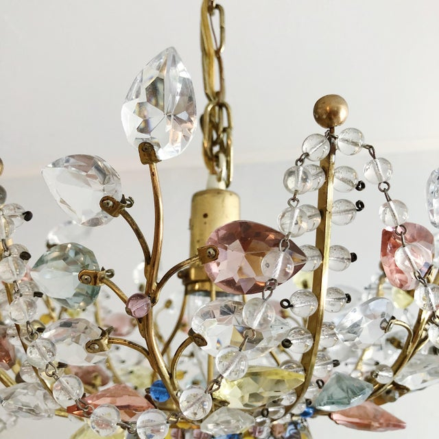 Metal Antique Maison Bagues Style Multi Color Austrian Crystal Ceiling Pendant Chandelier on Brass Frame For Sale - Image 7 of 9