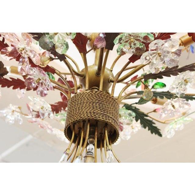 Copper 1970s Italian Mid-Century Modern Murano Glass Flower Bouquet Chandelier For Sale - Image 8 of 13