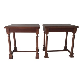Vintage Kimball Cherry Stain Architectural End Tables - a Pair