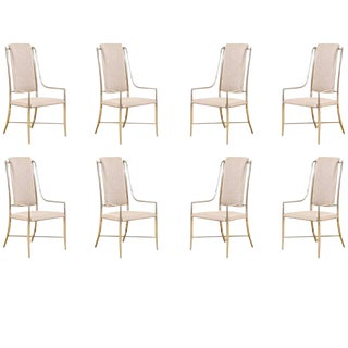 Unique Set of Eight Pewter Dining Chairs by Mastercraft For Sale