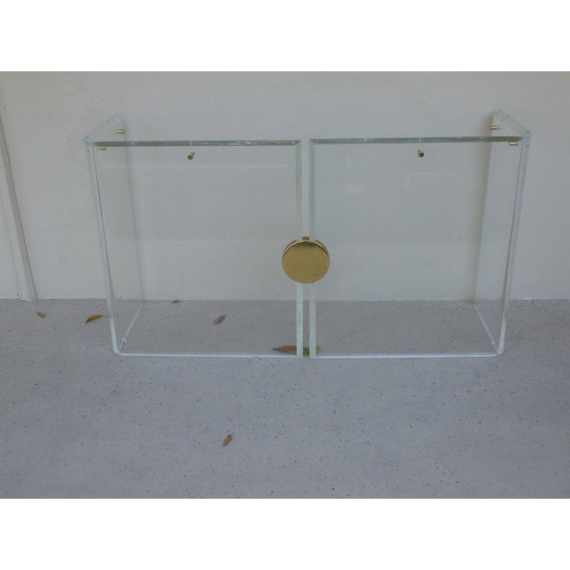 Brass 1970's Vintage Lucite Console Table For Sale - Image 7 of 7