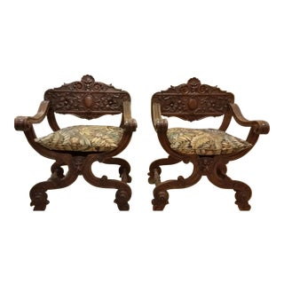 Savonarola Antique Chairs - a Pair For Sale