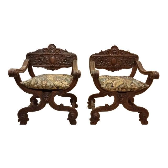 Savonarola Antique Chairs - a Pair For Sale