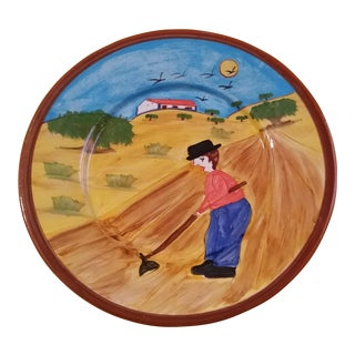 Mid 20th Century Vintage Portugal Folk Art Redware Plate For Sale