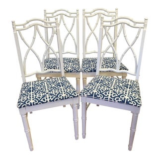 1950s Vintage Faux Bamboo White Dining Chairs- Set of 4
