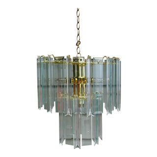 Vintage Glass and Lucite Two Tier Brass Frame Chandelier For Sale