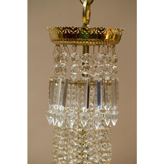 Mid 19th Century Brass and Crystal Gasolier For Sale - Image 5 of 13