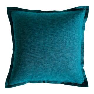 Crate & Barrel Teal Blue Linen Pillow For Sale