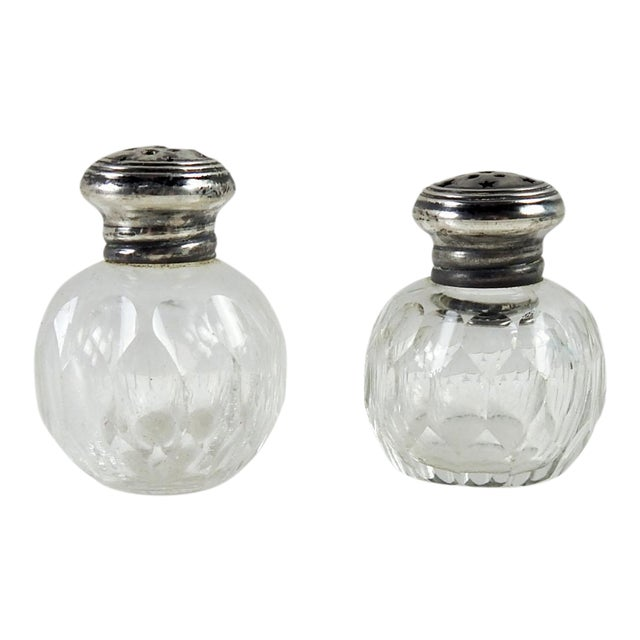Antique Crystal & Sterling Salt & Pepper Shakers - A Pair For Sale