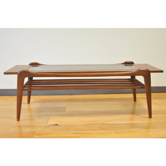 1960s Scandinavian Modern Wood and Glass Coffee Table For Sale In Houston - Image 6 of 6