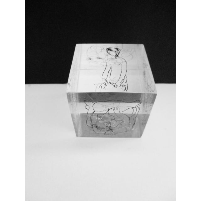 Lucite Picasso Drawings Lucite Cube Paperweight For Sale - Image 7 of 9