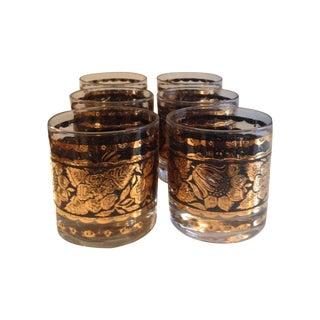 Vintage Black & Gold Glasses- Set Of 6 For Sale