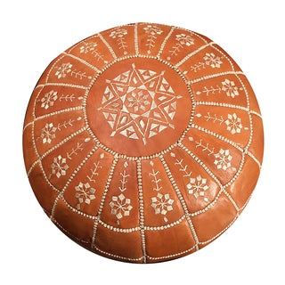 Full Arch Pouf Ottoman by Mpw Plaza, Light Tan (Unstuffed) Moroccan Leather Pouf Ottoman Preview