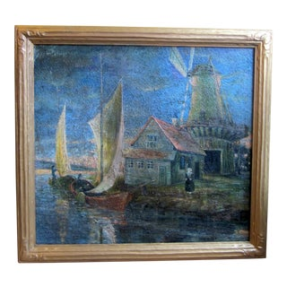 1920s Oil on Canvas Palette Knife Painting of Dutch Fishing Village Scene by Chicago Wpa Artist George Hruska For Sale