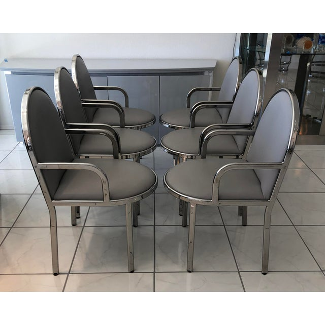 Set of 6 Rougier Chrome Dining Chairs For Sale In Las Vegas - Image 6 of 8