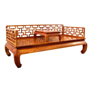 Late 20th Century Chinese Ming-Style Latticework Huali Wood Couch Bed with Kang Table For Sale