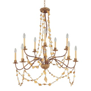 Mosaic 10 Light Two-Tier Gold Chandelier, Gold For Sale