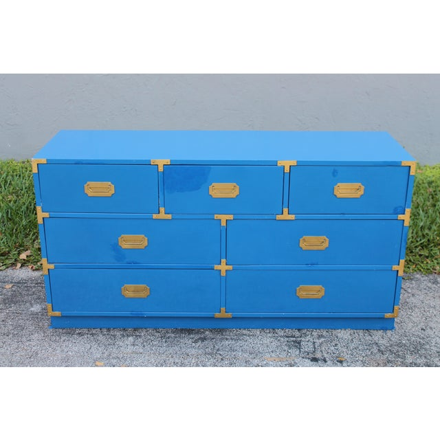 Wood 1950s Mid Century Modern Bernhardt Campaign Dresser For Sale - Image 7 of 7